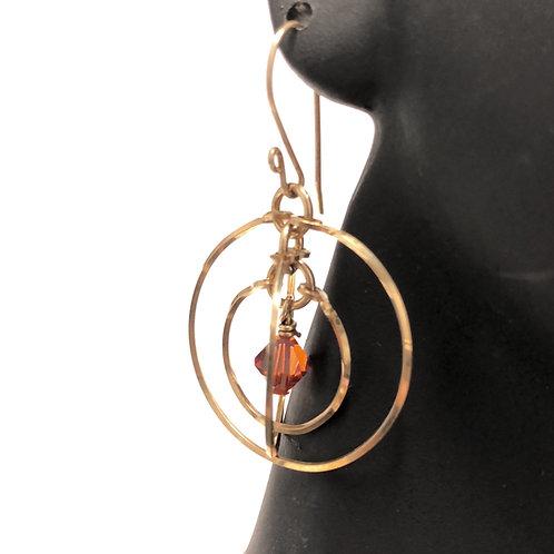 Red Magma Tri Circle Earrings