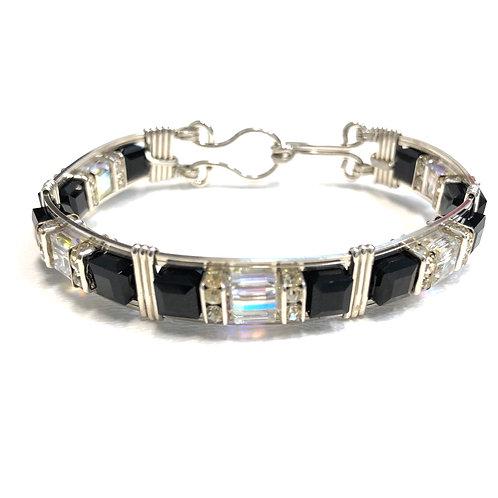 Jet / Crystal Cube Bracelet