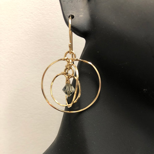 Black Diamond Tri-Circle Earrings