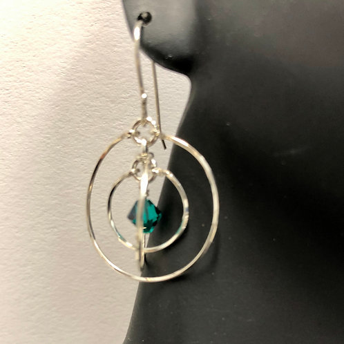 Emerald Tri-Round Earrings