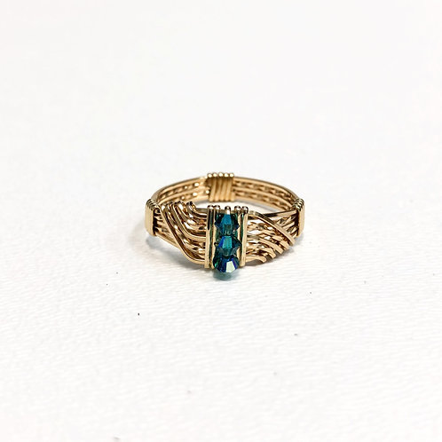 Blue Zircon Wave Ring