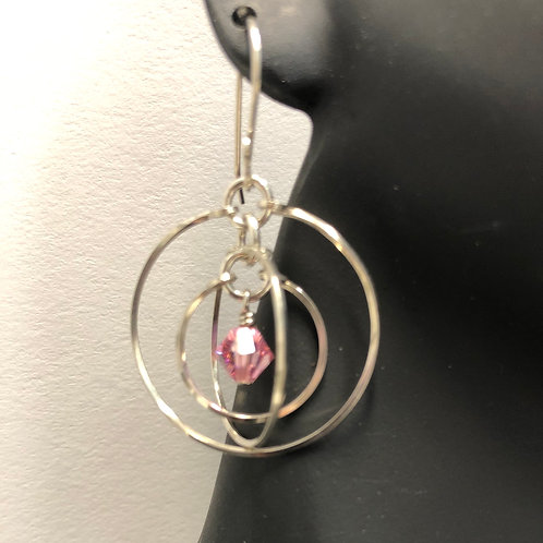 Lt. Rose Tri-Circle Earrings