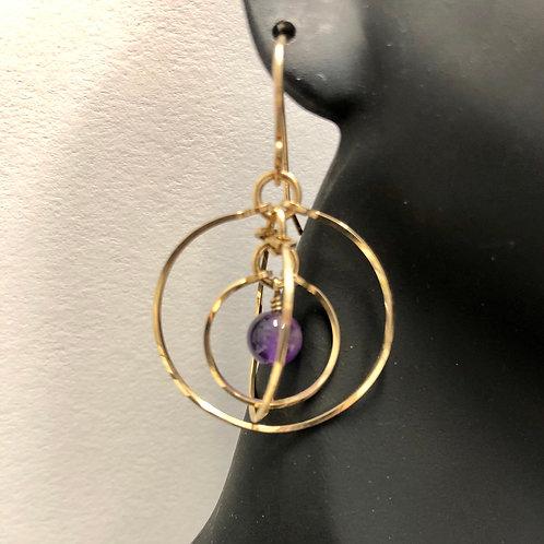 Amethyst Tri-Circle Earrings