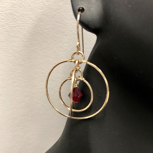 Siam Tri-Circle Earrings
