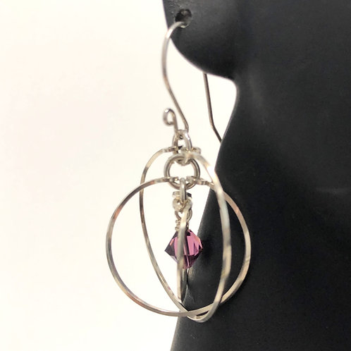 Amethyst Tri Circle Earrings