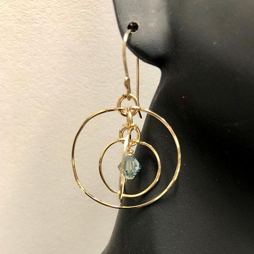 Indian Sapphire Tri-Circle Earrings