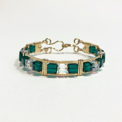 Emerald Cube Bracelet