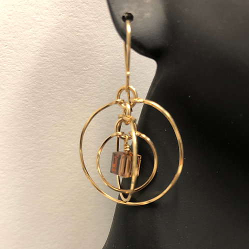 Colorado Topaz Tri-Circle Earrings