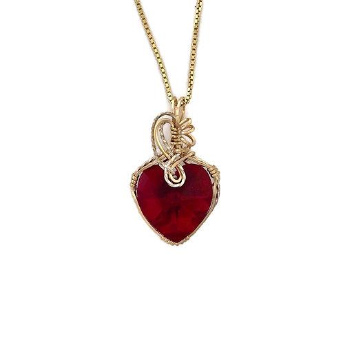 Siam (Garnet) Heart Pendant