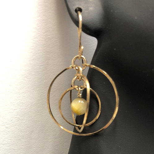 Honey Blue Jasper Tri-Circle Earrings
