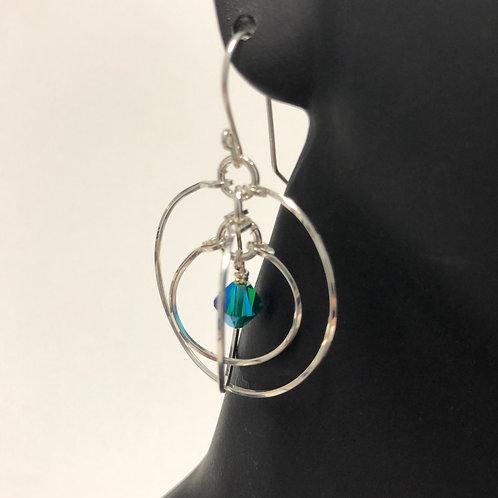 Blue Zircon Tri Circle Earrings