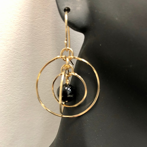 Black Onyx Tri-Circle Earrings