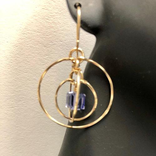 Tanzanite Tri-Circle Earrings