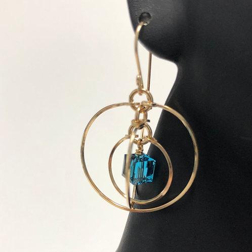 Indicolite Tri Circle Earrings