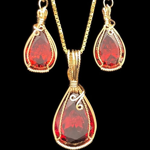 Lab Created Ruby Pendant / Earring Set