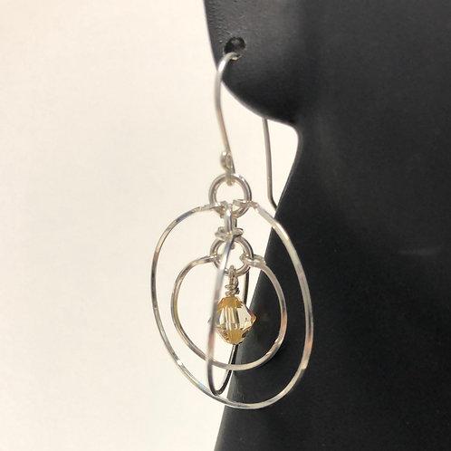 Crystal Brandy Tri Circle Earrings