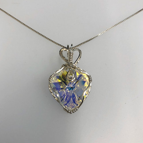Crystal AB Heart Necklace