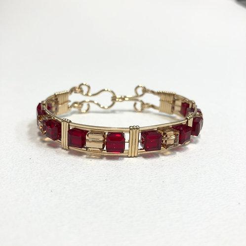 Ruby (Siam) / Topaz Cube Bracelet