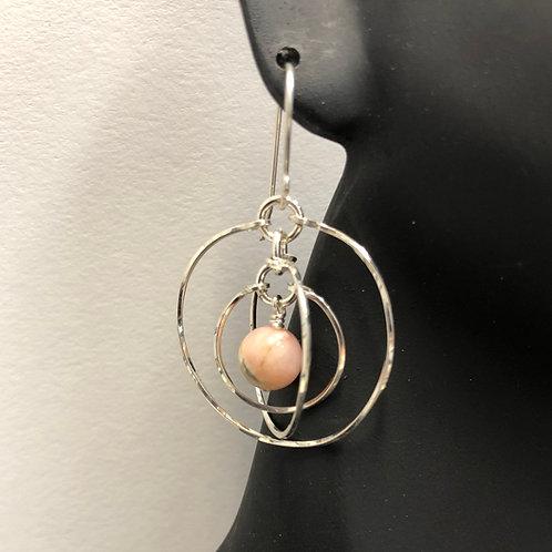 Pink Opal Tri-Circle Earrings