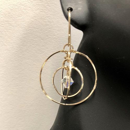 Vintage Rose Tri-Circle Earrings