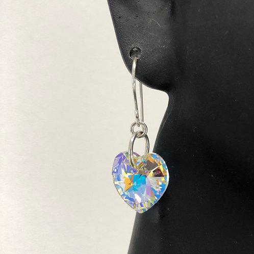 Crystal AB Heart Earrings