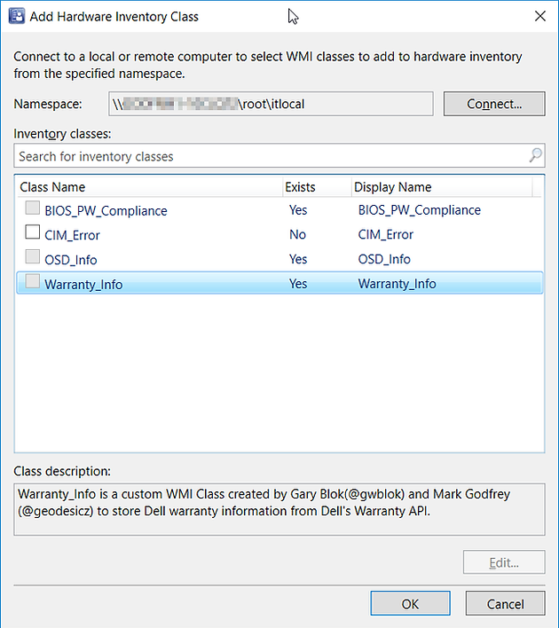 Write Dell Warranty to WMI & Inventory via Configuration