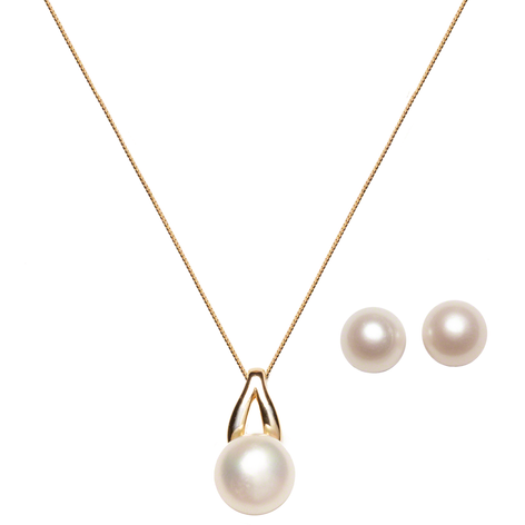 """Cultured Freshwater Pearl Large Bold """"V"""" Bail  Pendant & Earring 2pc Set, All Crafted in Gold over Sterling Silver. E- 9.5-10mm, P-12.5-13mm w/ 1"""" drop"""