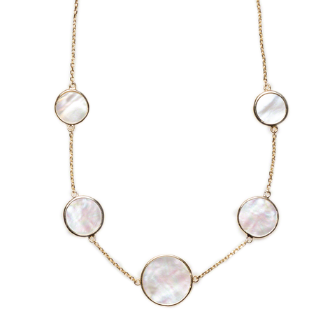 """5 station 18 """" Mother Of Pearl Necklace, Gold over Sterling Silver"""