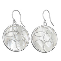 White MOP 20mm Round Caged Drop Earrings on French Wire Designed in Sterling Silver