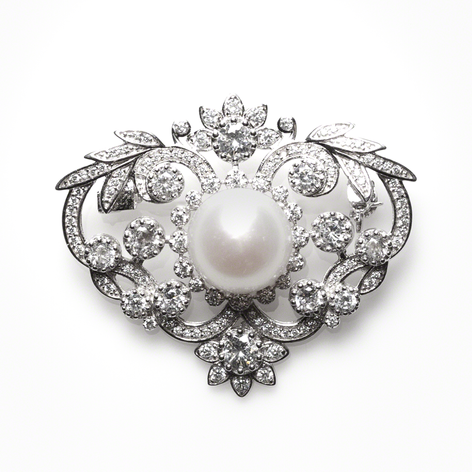 Sterling Silver and Cultured Freshwater Pearl with CZ crest pin