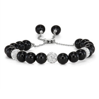 Cultured 8mm Freshwater Pearl, Onyx, and Hemitite Bolo Bracelet. All crafted in Sterling Silver