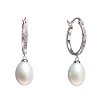 10th cttw Diamond Hoop with Cultured Freshwater Pearl Drop Earring. All Sterling Silver