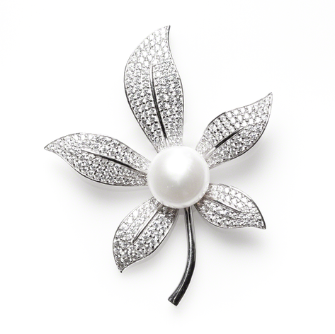 """Cultured Freshwater Pearl and CZ """"Lilly"""" Pin Two Tone Gold over Sterling and Sterling Silver"""