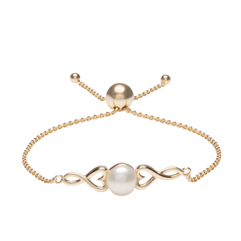 Cultured Freshwater Pearl Polished Heart ID Bolo Bracelet in 18K Gold over Sterling Silver