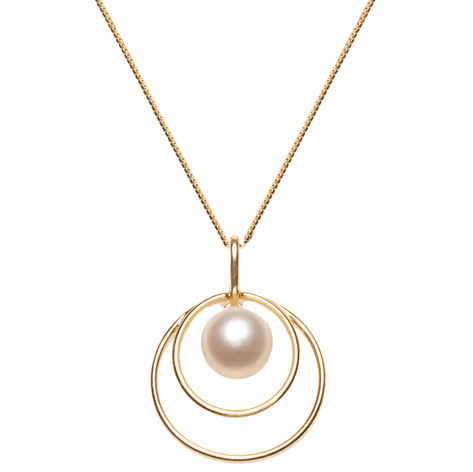 """Cultured Freshwater Pearl Double Circle Orbit 18"""" Pendant, All Crafted in Gold over Sterling Silver. 8-8.5mm pearl, 1"""" long, 3/4"""" W"""