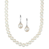 7mm Cultured Freshwater Pearl Strand & Cultured Teardrop Earring 2pc Set.  All Crafted in Sterling Silver