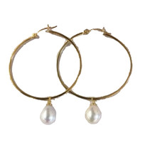 Large 18K Gold over Sterling Silver Hoop Earring with a Cultured Freshwater Pearl Drop