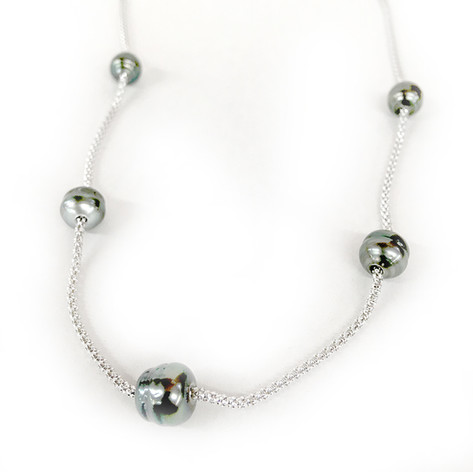 """8-9mm Tahitian 5 Pearl Station Necklace Designed on a 18"""" Sterling Silver Popcorn Chain"""