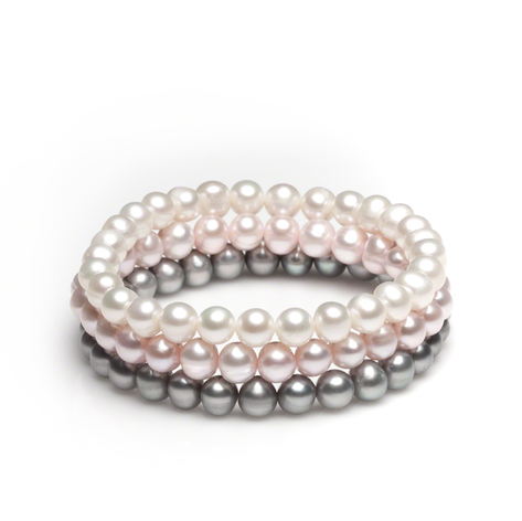 Classic 3 piece 6.5 - 7 mm stretch bracelet  white, gray, and peacock