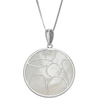 """White MOP 25mm Round (size of a quarter)  Caged Pendant on 18"""" Chain Designed in Sterling Silver"""