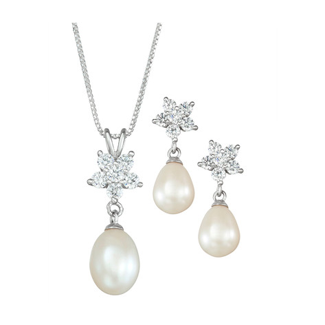 """Cultured Freshwater Pearl ( 7 & 9mm) Flower Top Pendant on 18"""" Box Chain & Matching Drop Earring Designed in Sterling Silver"""