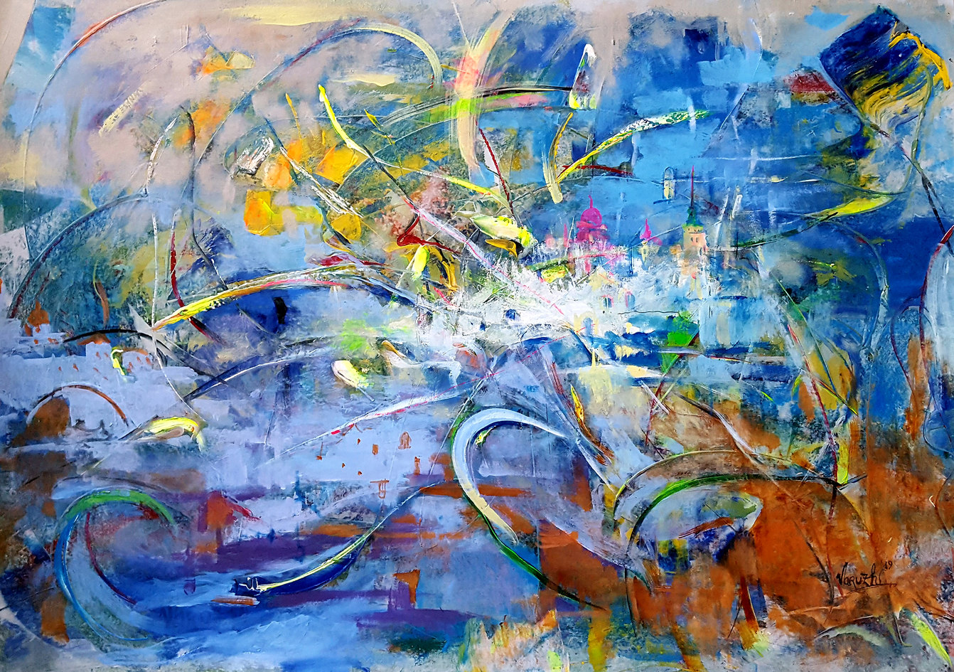 Composition   No.18   35X80cm   acrylic   canvas