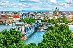 Chain bridge on Danube river in Budapest