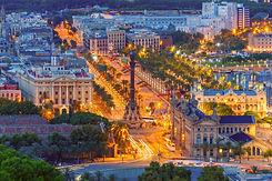 Aerial view over square Portal de la pau
