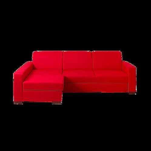 Corner Left Sofa Bed LOZIER, Red (et60), Walnut