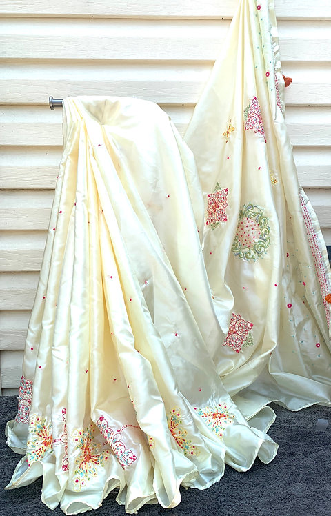 embroidery silk sari