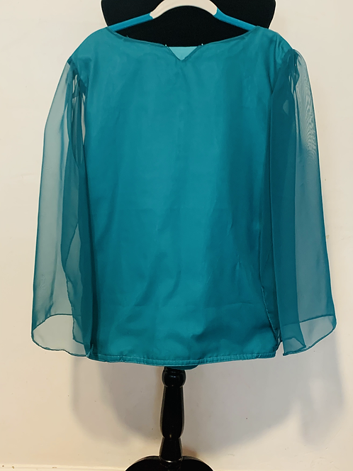 Sea Green chiffon blouse with Solid Underlayer