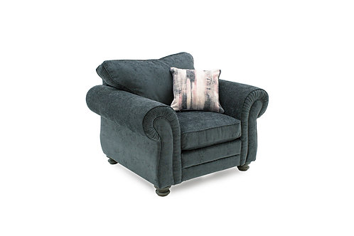 Hollins 1 Seater Fixed - Charcoal (1 scatter cushion)