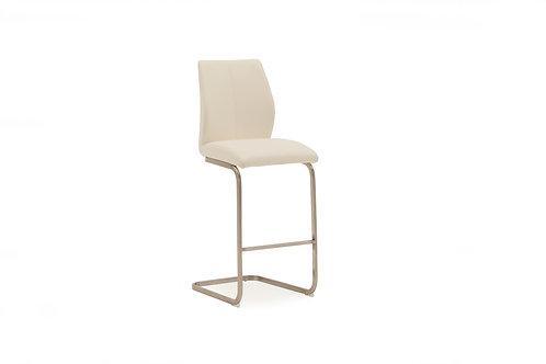 Irma Bar Chair - Brushed Steel White