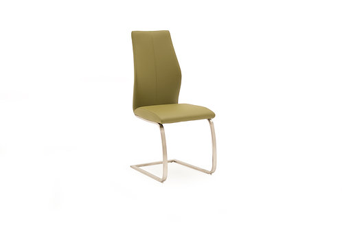 Irma Dining Chair - Brushed Steel Olive